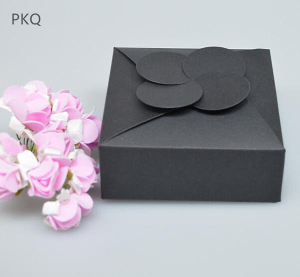 10 шт. / Лот 10.5x10.5x4 см Черная Бумага Картонная Коробка Свадебные Сувениры Подарочная Упаковка Коробка Для Конфет Шоколад Коробка Крафт-Бумага