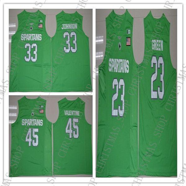 Cheap Custom Michigan State Spartans College # 33 Johnson 23 Draymond Green 45 Denzel Valentine Basketball Jerseys MEN WOMEN YOUTH JERSEY
