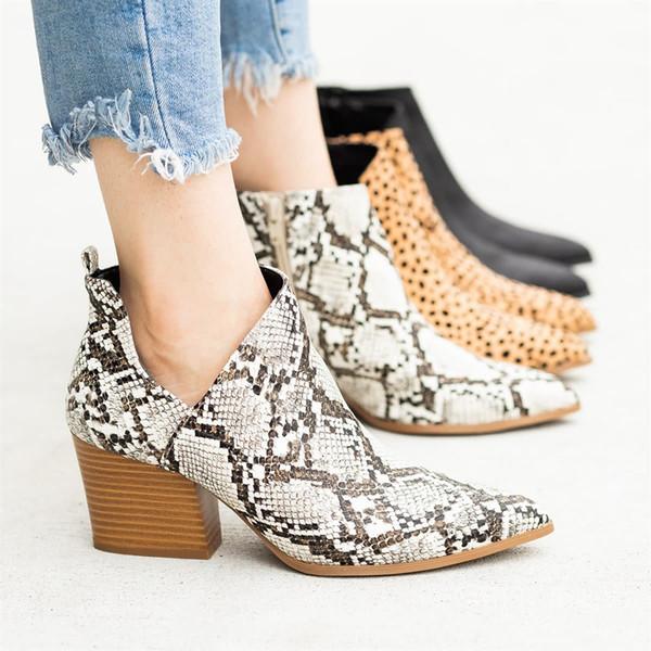 35 # tobillo de las mujeres botas de serpiente de impresión en punta del dedo del pie zapatos de cremalleras laterales altos talones gruesos femeninos de cuero Zapatos de arranque Mujeres botines casuales