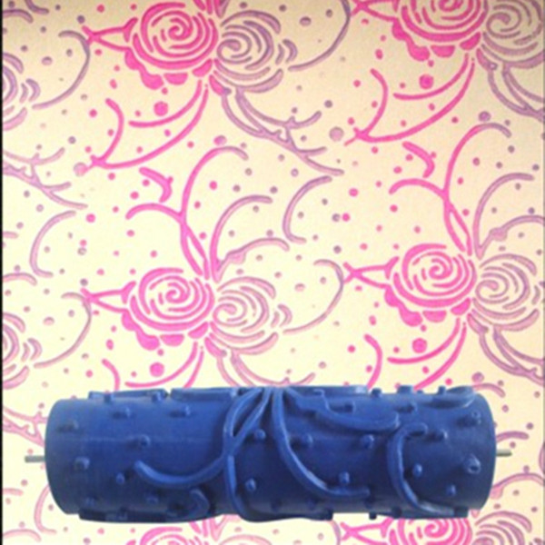 Compre Rodillo De Pintura Decorativa De Pared De Goma 3d De 7 Pulgadas Papel Tapiz Líquido 037c Rodillo De Diseño De Patrones Sin Empuñadura A