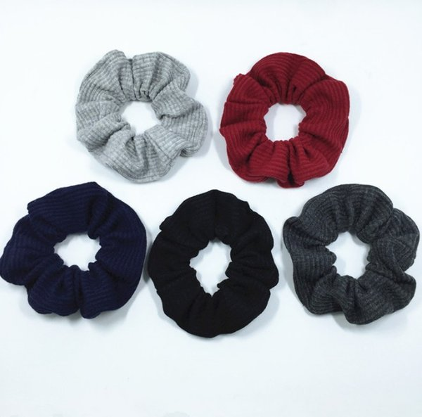 5 Color Women Girls Stripe Knit Cloth Elastic Ring Hair Ties Accessories Ponytail Holder Hairbands Rubber Band Scrunchies