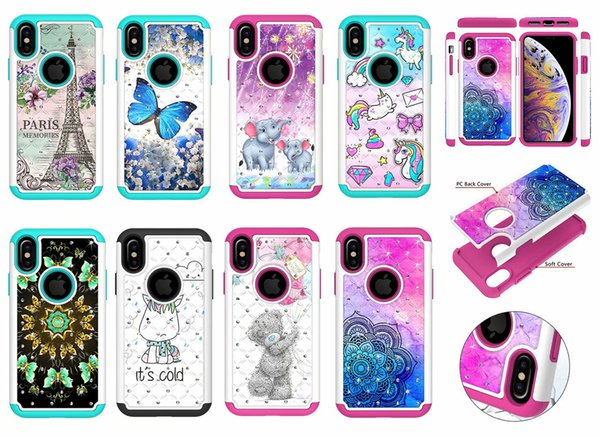 2 in 1 Diamond Shockproof Hard PC+TPU Owl Flower Butterfly Lace bear Case for iphone XS MAX XR X 6 7 8 PLUS Samsung S8 S9 PLUS NOTE9