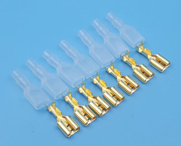 1000 Stücke Kupfer Weibliche 6,3mm Spaten Isolierte Elektrische Verdrahtung Crimp Terminal Mit Fall
