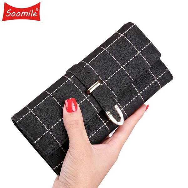Soomile New 2018 Latest Female Wallet Leather Long Women Change Clasp Purse Money Coin Card Holders wallets Carteras Clutch Bags #328882