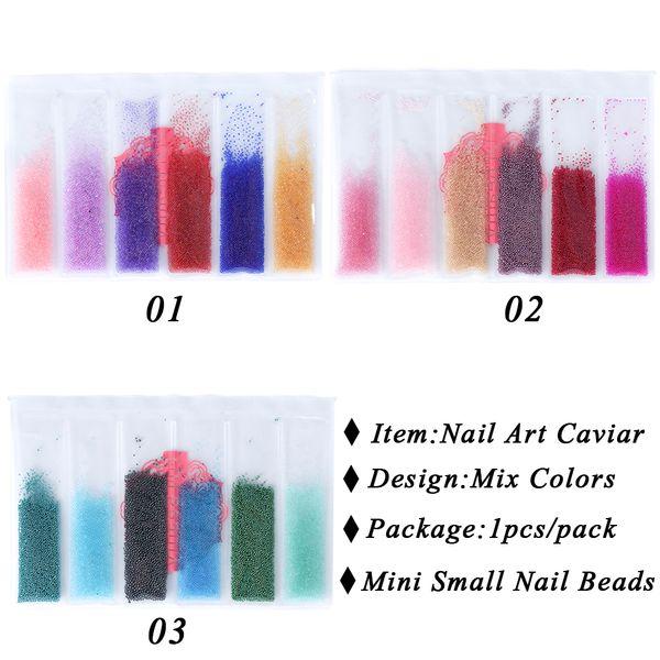 Full Beauty 1 Pack 3d Nail Art Caviar Beads Decorations Mixed Mini Small Studs Rhinestone Charms Manicure Tools Ch706