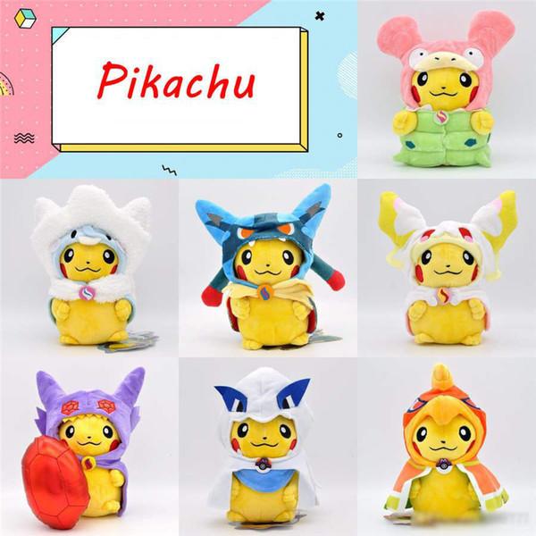 7 estilos linda Capa Pikachu muñecas 23cm juguetes de peluche Pikachu Cosplay Muñecas niños animales juegan los regalos de Navidad de DHL