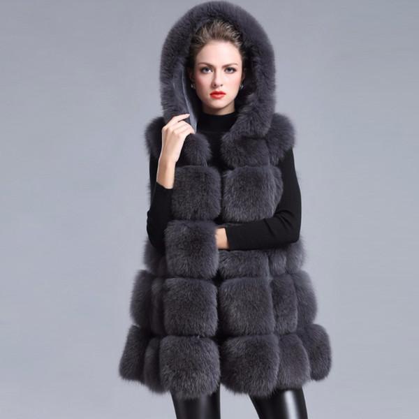 Faux Kürk Kadın 2019 Rahat Hoodies Sıcak İnce Kolsuz Faux Fox Kürk Yelek Kış Ceket Kaban Kadın casaco feminino