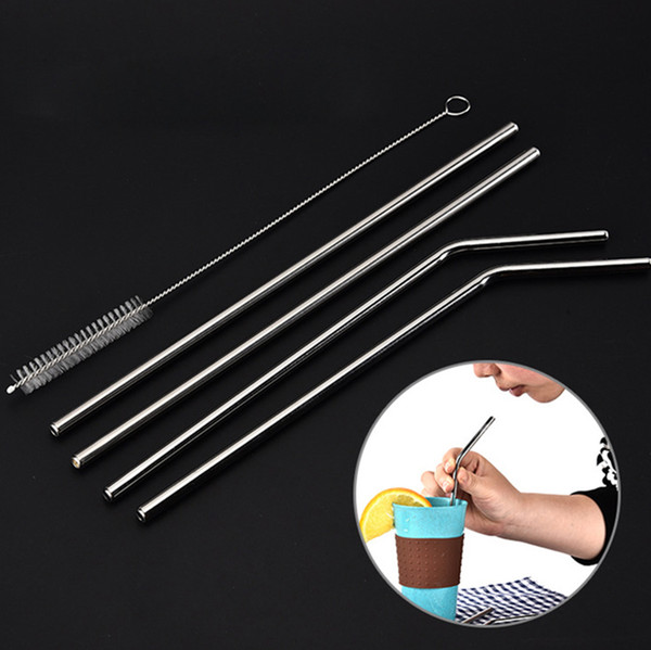 "best selling Stainless Steel Straws 8.5'' 10.5"" Reusable Cups Straight Bend Kids Drinking Straws ECO Metal Bar Party Drinks Sucker"