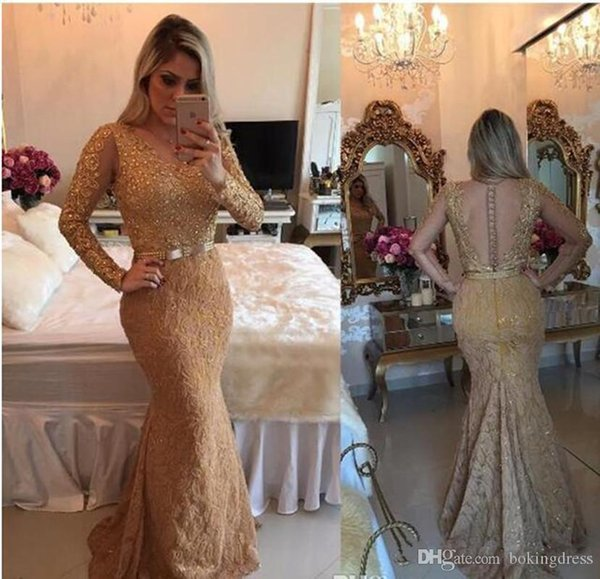 2020 Gold Illusion Bloße lange Ärmel Nixe-Abschlussball-Kleider wulstige volle Spitze Applikationen Abend Kleid Luxus Individuelle formale Partei-Kleider gemacht