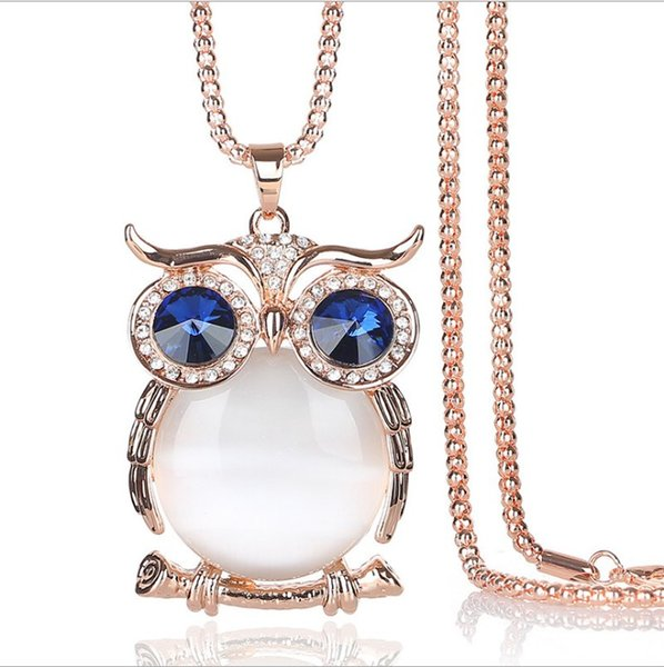 10 style owl necklace lady crystal long pendant Sweater Chain Long Necklaces Jewelry Ornaments Exquisite stylish necklace