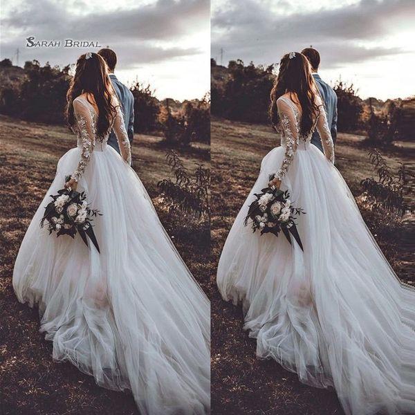 top popular Bohimian Vintage A Line Long Sleeves Tulle Bride Dress Appliques Wedding Dresses Elegant Bridal Gown High-end Bride Boutique 2020
