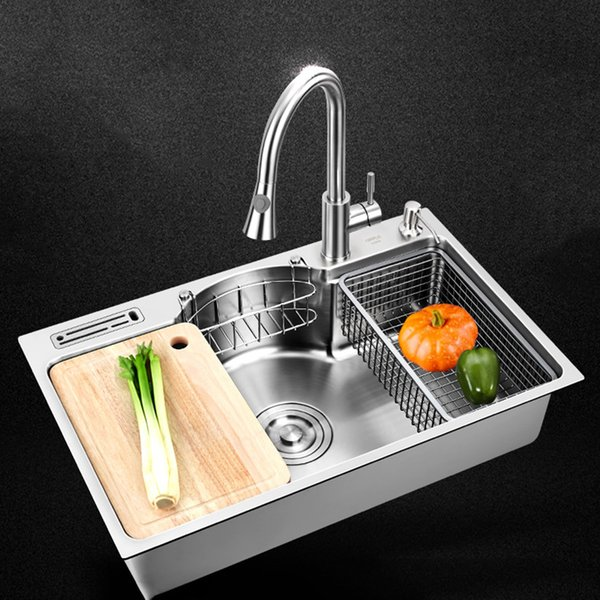 top popular Kitchen Sink stainless steel Multifunctional single bowl above counter or udermount sinks 1.2mm thickness brushed sinks kitchen 2021