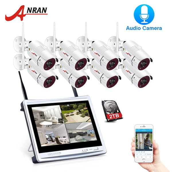 ANRAN P2P 8CH 12 Inch LCD Monitor NVR 2.0 MP 36IR Outdoor 1080P Night Video Audio IP Wireless Camera Security System 1/2/3TB HDD