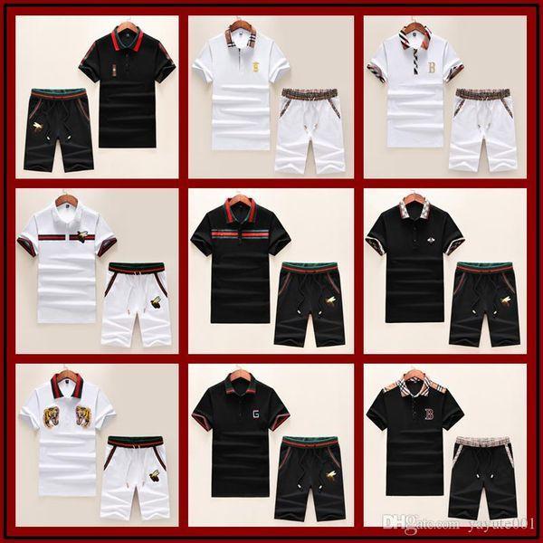 Moda de verano de lujo 2 piezas / sets chándal de verano de manga corta camiseta para hombres primavera y pantalones cortos trajes casuales