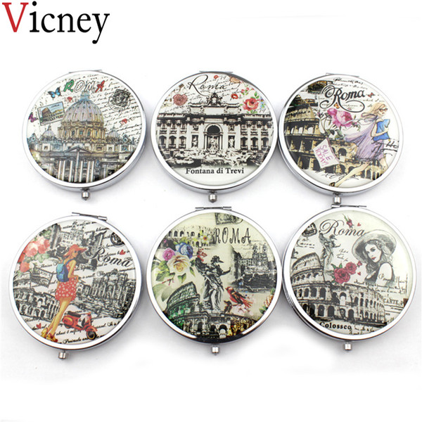 Vicney New Portable Mini doppio specchio sei tipo specchio per il trucco Ladies Girls Pocket Pieghevole specchi cosmetici Make Up attrezzo di bellezza