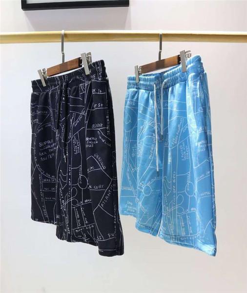 Mens Designer Shorts Summer Brand Beach Shorts Casual Brand Pocket Irregular Map Printed Mens Tether Short Pants Asian size M-2XL ENKK
