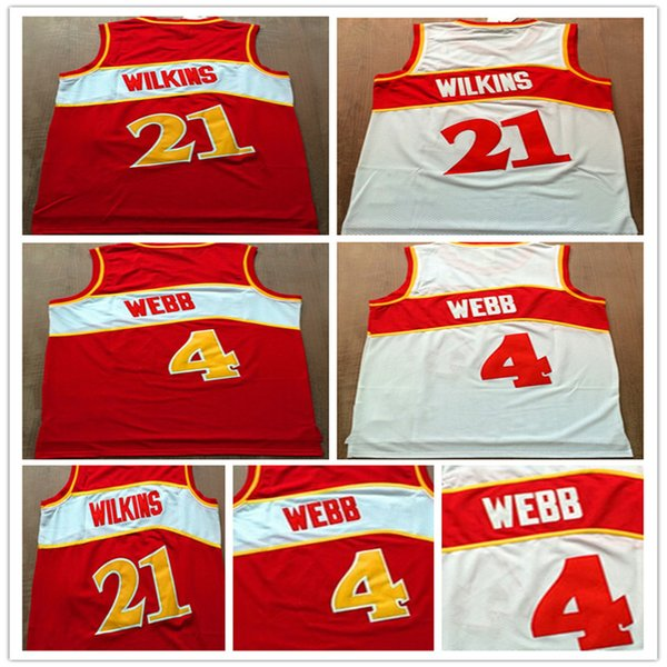 Top Sell Jerseys baratos # 4 Spud Webb jersey # 21 Dominique Wilkins Camisas Red White Color Basketball Jersey Embroid