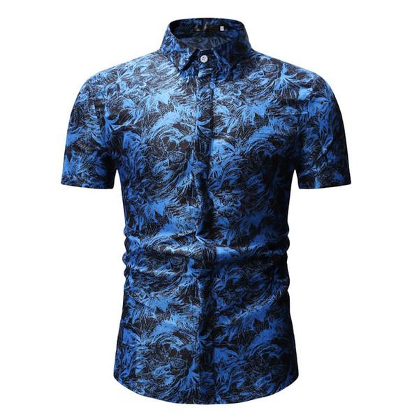 2019 Camisas Casuais dos homens de Verão de Algodão de Poliéster Impressão Turn-down de manga curta Fino Vermelho Azul Moda Masculina Camisas de Vestido YS26 CJW