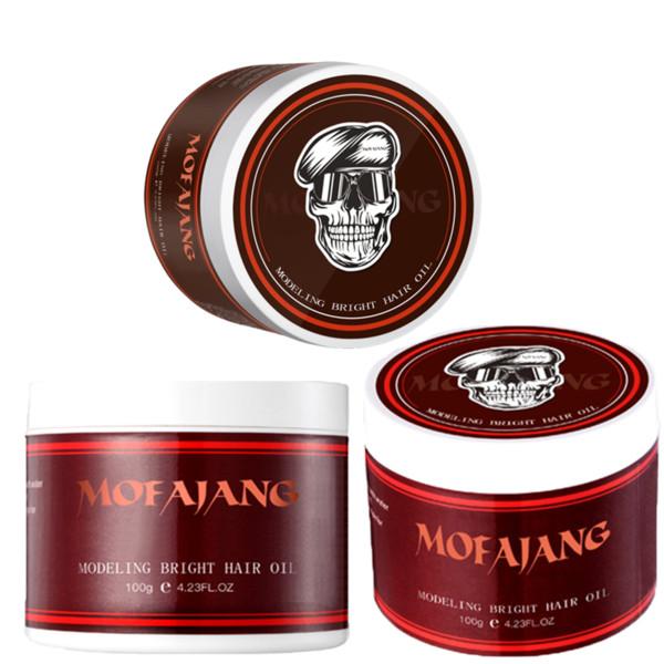 top popular mofajang hair pomade 100g strong style restoring hair wax skeleton cream long lasting hair oil no greasy 2021