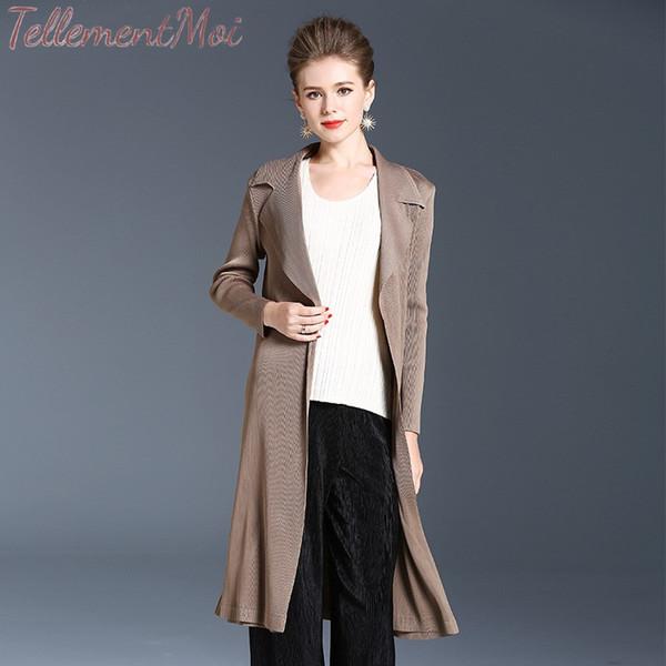 Outerwear Women's Slim Long Coat Turn-Down Collar Trench Coat Long Sleeve Pleated Outwear Cardigan Office Ladies Wear