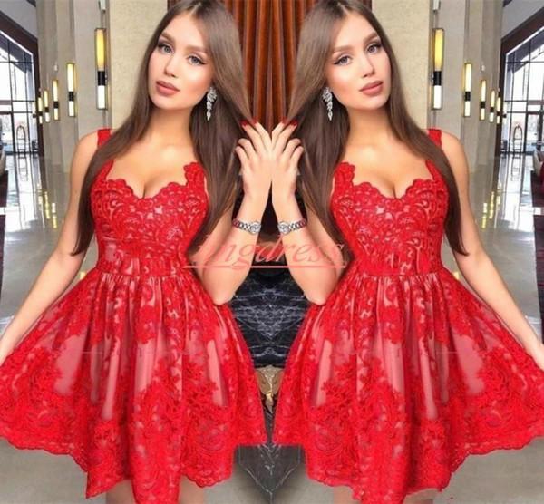 Elegant Straps Lace Homecoming Dresses Straps Sleeveless Juniors Knee Length Cocktail Graduation Plus Size Bridesmaid Dress Club Wear ED045