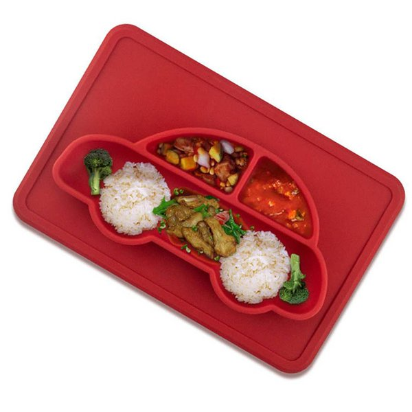 Hot selling Silicone Car Shape Baby Placemat Suction Food Grade Silicone Bowl Baby Plates one piece per set