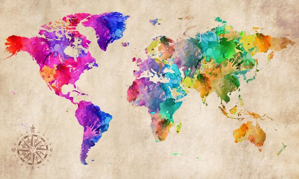World Map Modern Abstract Art Home Wall Art Decor Handpainted &HD Print Oil Painting On Canvas Wall Art Canvas Pictures 190825
