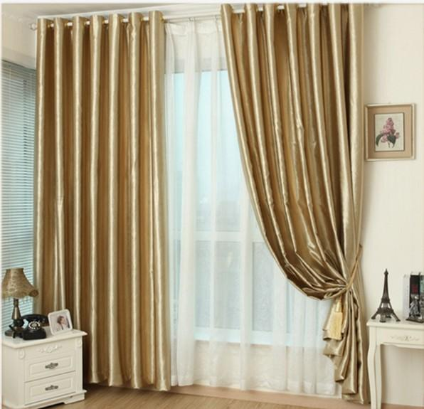 best selling Hook Eyelet gold curtains window living room cortinas drapes panels modern kitchen high shading window treatment curtains