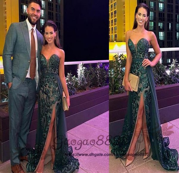 2019 Sexy Mermaid Evening Dresses sweetheart with detachable Train Evening Gowns tulle with lace Applique Formal side split Party Dress