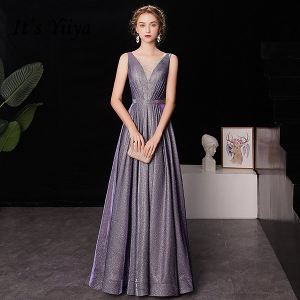 It's YiiYa Evening Dress Gradient Color Star Purple V-neck Tank Formal Dresses Shining Sleeveless Lace Up Long Party Gown