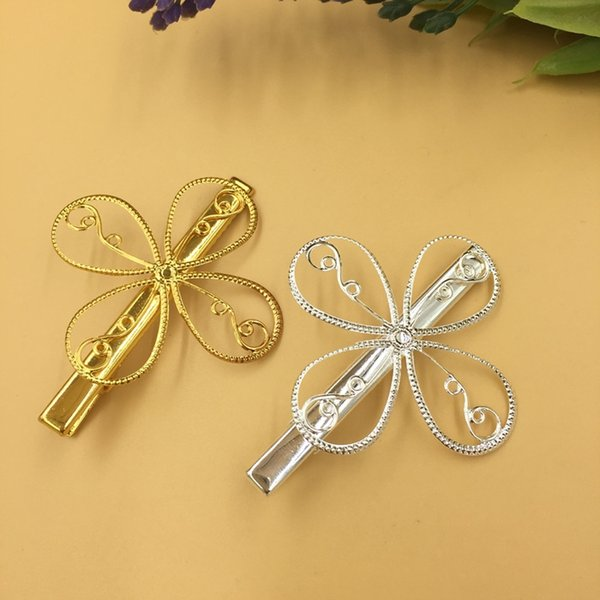 20pcs 39mm Metal Gold French barrettes fashion flower hair pin women Alligator clip hairpin silver color hairclip hairwear diy jewelry