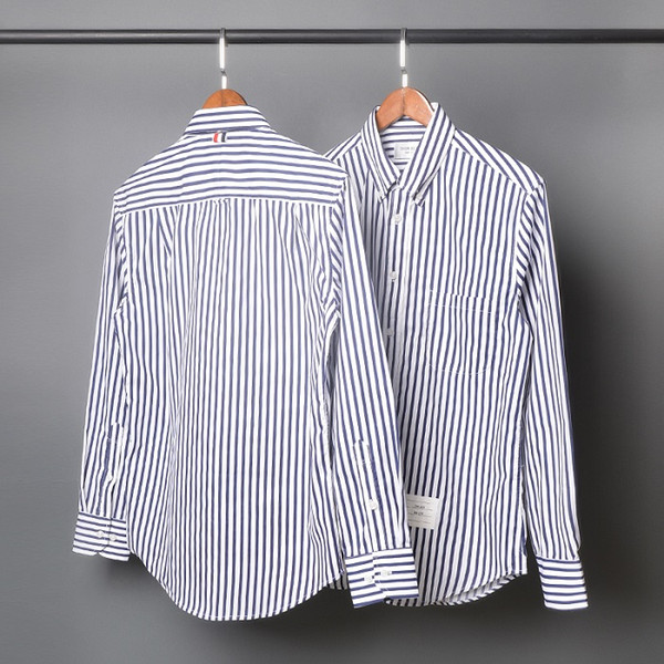 New spring TB blue striped slim long-sleeved shirt men and women couples poplin material casual tide brand shirt