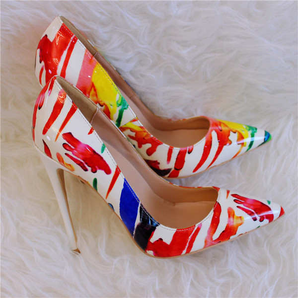 Casual Designer Sexy lady fashion white patent leather printed pointed toe high heels shoes 12cm 10cm 8cm Stiletto heeled brand new luxura