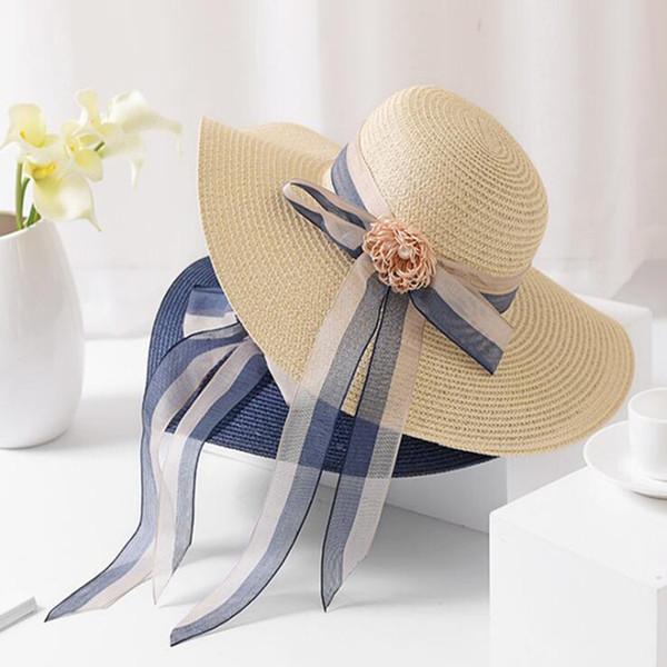 2019 new big straw hat women female summer wide brim long streamer beach sun hats caps seaside travel holiday sunscreen big foldable hats