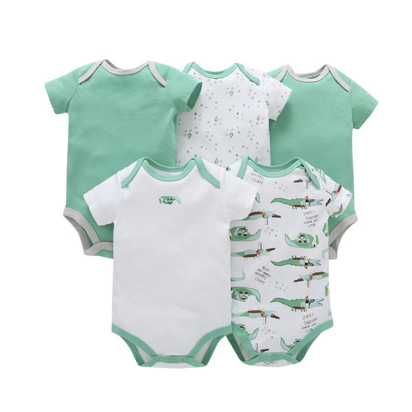 5pcs/lot Baby Romper Short Sleeve Cotton Boy Girl Clothes Summer Jumpsuits Clothing Set Body Suits 6-24months Bebe Costume Y19050602