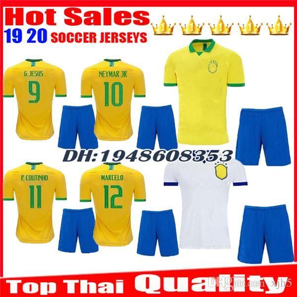 Maillots de foot enfants 2019 2020, blancs. Maillots 19 20 JESUS COUTINHO FIRMINO MARCELO uniformes maillots de football