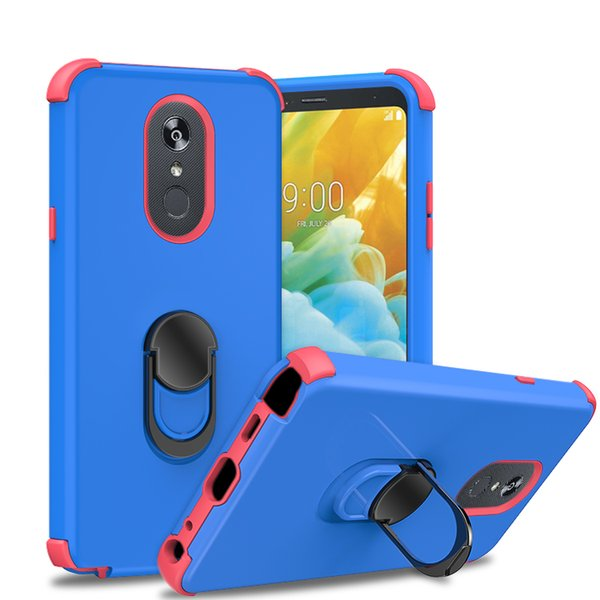 For iPhone 6 7 8 Plus XS Max XR Samsung S10 5G Plastic Silicone Corners Bumper Cushion Case with Kickstand Ring Various Colors
