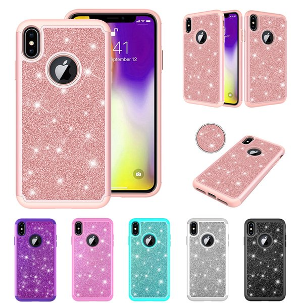 Hybrid Bling Back Case For iPhone x/xs xr xs max Diamond Sparkle Shining Glitter Cover Defender for iPhone 6 6s 7 8 Dual Layer