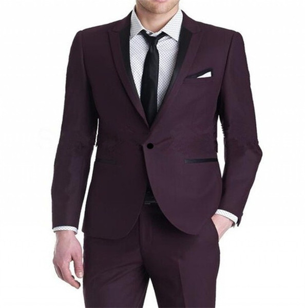 New Arrival Groomsmen Burgundy Groom Tuxedos Peak Lapel Men Suits Wedding/Prom Best Man Blazer ( Jacket+Pants+Tie)