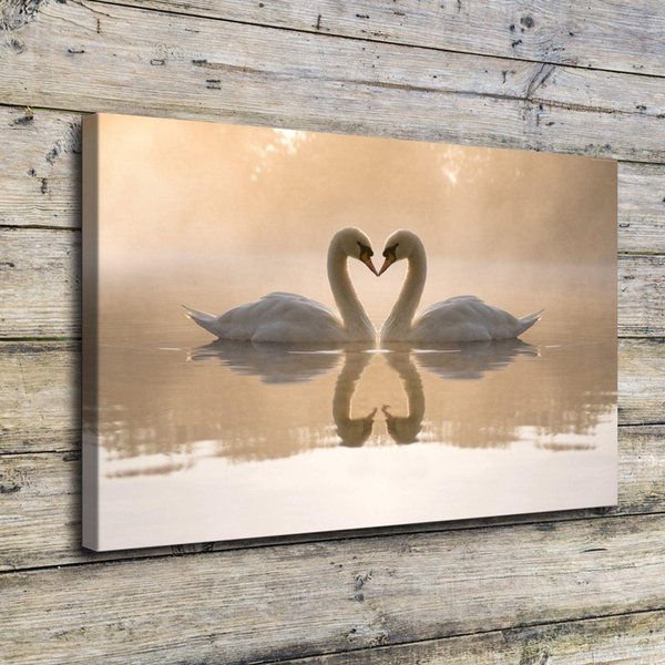 Swan Couple Lake,Home Decor HD Printed Modern Art Painting on Canvas (Unframed/Framed)