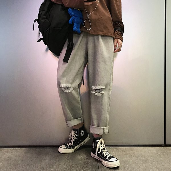 2019 Spring And Autumn New Trend Big Size Hole Fashion Loose Jeans Youth Popular Casual Trousers Male Gray / Blue S-XL