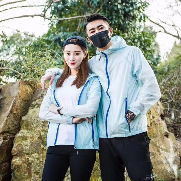 2019 Summer Womens Brand Rain Jacket Coats Outdoor Casual Hoodies Windproof and Waterproof Sunscreen Face Coats S-XXL