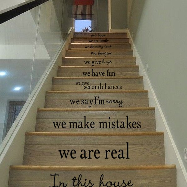 English motto house rules Stairs wall Sticker Graphic Unique Mural Cosplay Gifts for living room home decoration Pvc Decal paper WN655