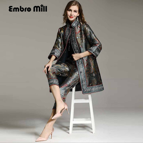 Chinese style High-end autumn winter women floral Suit rayon vintage loose coat +Jacquard pants 2 pieces lady set female
