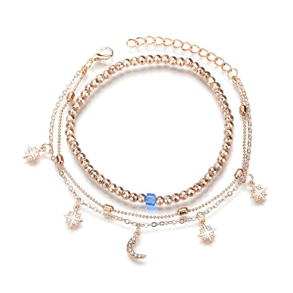 Multilayer Infinity Handmade Dainty Anklet alloy Gold Filled/Silver Anchor and Star Lucky Beads Lace Chain Adjustable Foot Chain for Women