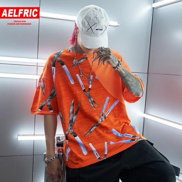AELFRIC Noite Escura Cor Sólida Camisetas 2019 Verão Tesoura Impresso Graffiti Algodão Camisetas Streetwear Harajuku Mens Tees Tops