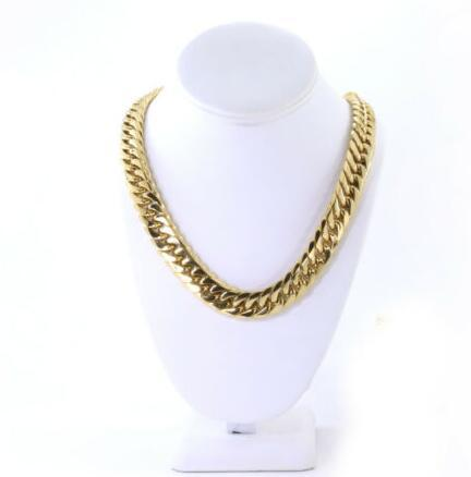 Solid Heavy Large 14K Gold Plated Miami Cuban Link Chain Stainless Steel 16.5mm