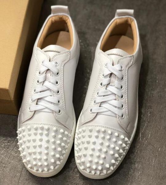 Baixo Studded Spikes Sapata Plana 2019 Novas Sapatilhas Designer Preto Branco Dos Homens Sapatos Femininos de Festa Moda Couro Genuíno