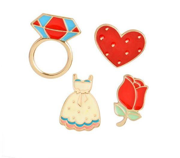 2019 Nueva moda 4 Tipo Esmalte Flor Rosa Corazón Vestido Anillo de Diamante Broche Traje Camisa de Solapa Pin Insignia para Mujeres Niños Regalo lindo