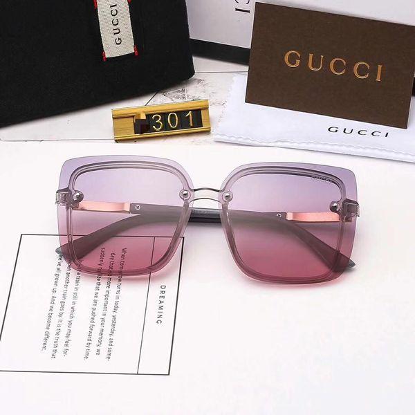 Designer Occhiali da sole Occhiali da sole di lusso Marchio di moda per donna Vetro Guida UV400 Adumbral con scatola e design unico G301 Hot Top